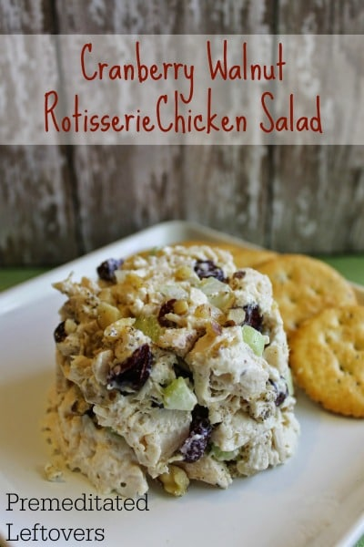 Cranberry Walnut Rotisserie Chicken Salad Recipe - Here is a quick and easy chicken salad recipe using a rotisserie chicken, cranberries, and walnut.