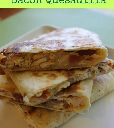 Quick and Easy Bacon and Rotisserie Chicken Quesadilla Recipe: A simple leftover rotisserie chicken recipe! Use leftover rotisserie chicken in a quesadilla!