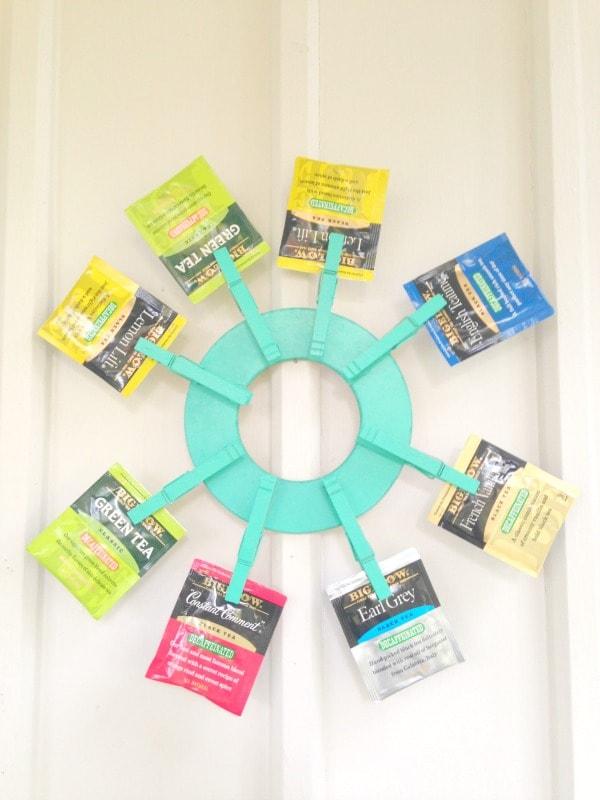 diy clothespin tea bag wreath