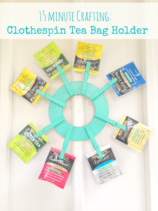 This homemade clothespin tea bag wreath is perfect for organizing tea bags in a fun, colorful way and only takes 15 minutes to create.