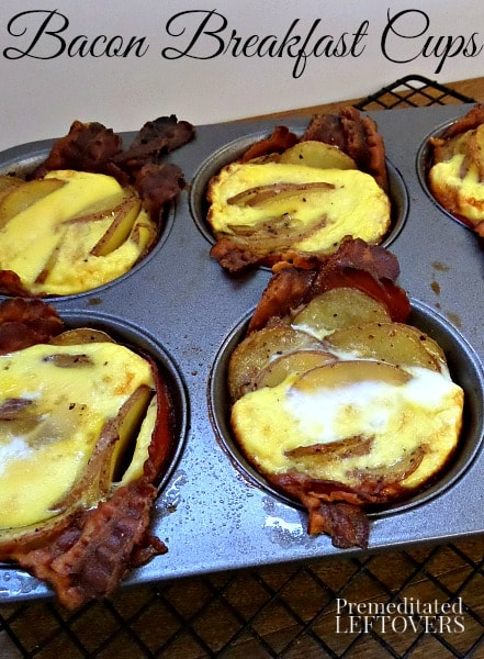 Bacon Breakfast Cups Recipe - An easy recipe for Breakfast Cups with bacon, eggs, and potatoes. Use this recipe to make breakfast cups in muffin tins.