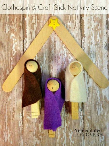 Clothespin Nativity Scene with a Popsicle Stick Stable- This Nativity ...