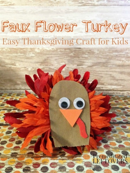 DIY Faux Flower Turkey Craft for Kids