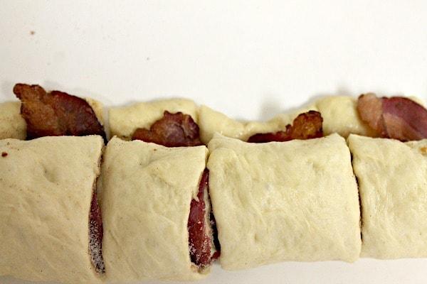 Maple Bacon Cinnamon Rolls Recipe with bacon inside each roll.