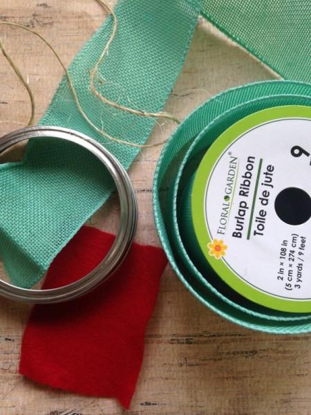 Canning jar lid wreath ornament supplies