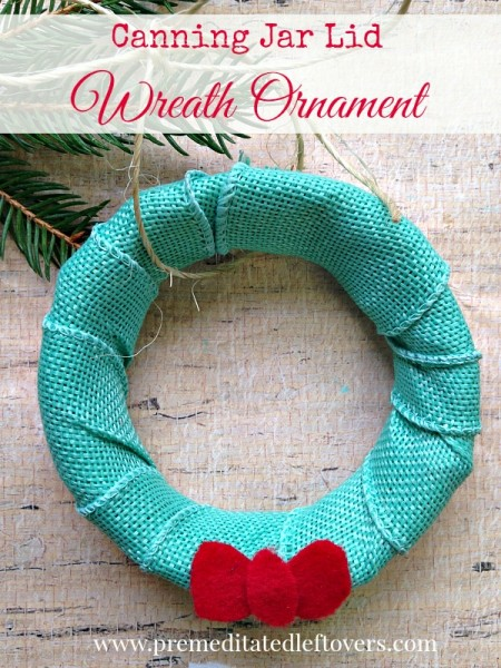 This DIY Canning Jar Lid Wreath Ornament is a cute homemade ornament that can be made with just a canning jar lid and some leftover craft supplies.