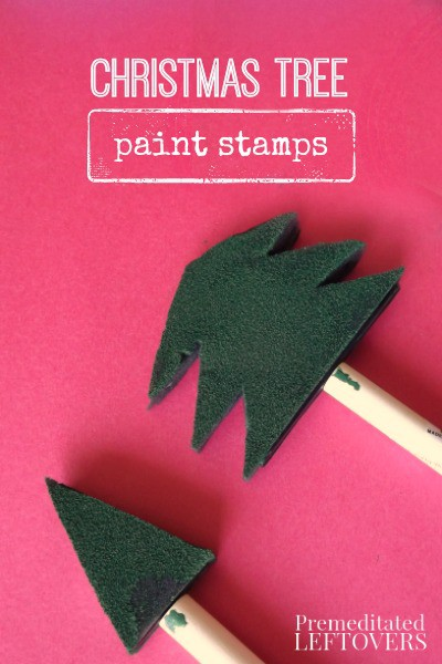 How to Make Christmas Tree Paint Stamps - Use foam paint brushes in varying sizes to create Christmas tree paint stamps. Fun Christmas activity for kids!
