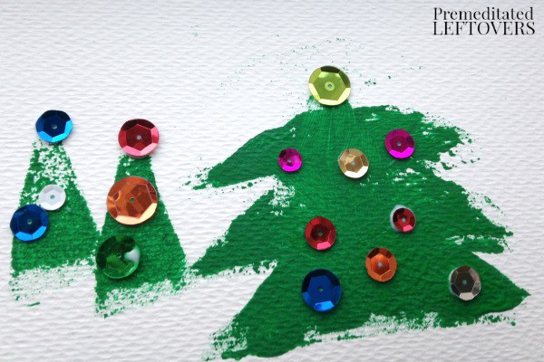 Christmas tree paint stamp activity for kids
