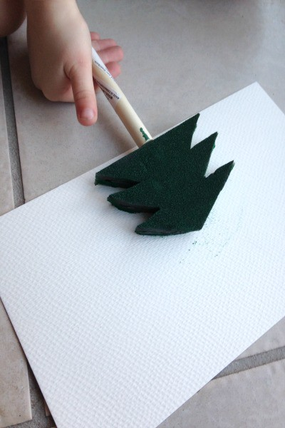 Christmas tree paint stamps - a fun Christmas craft for kids