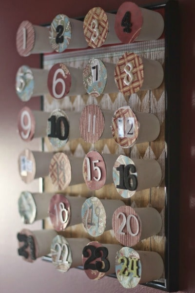 upcycled k cup advent calendar side view