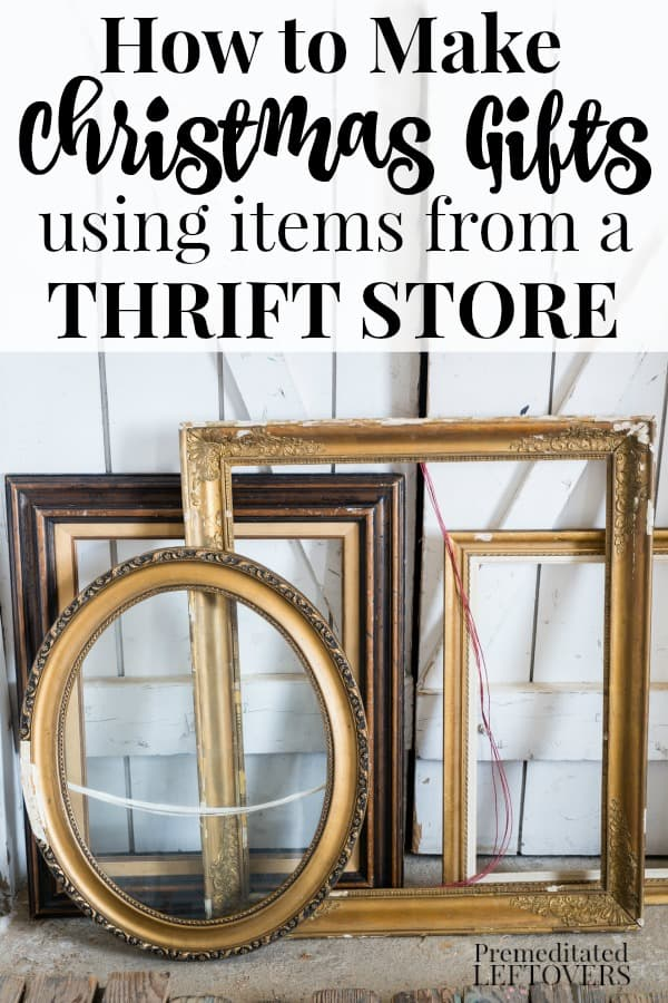 Old frames against a white wall - thrift store items that can be used to make Christmas gifts