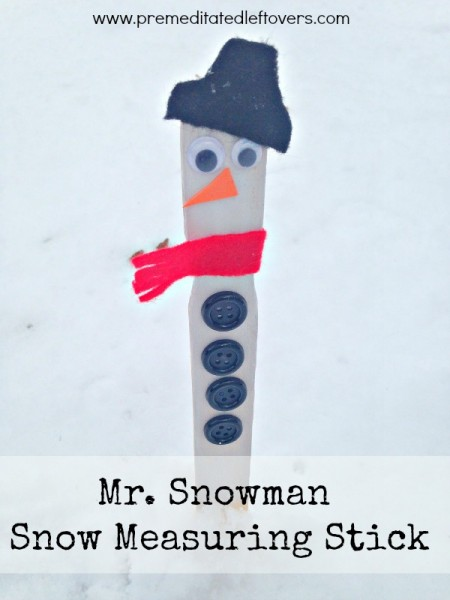 This Snowman Snow Measuring Stick Craft is a fun way to measure the snowfall in your yard and a easy, frugal craft to entertain kids on a winter day.