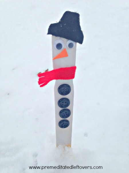 snowman snow measuring stick craft