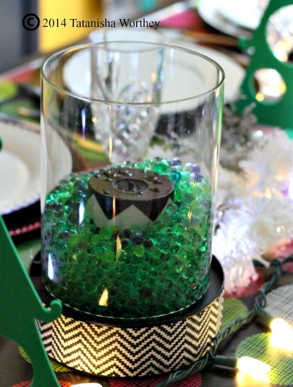 black and white christmas centerpiece