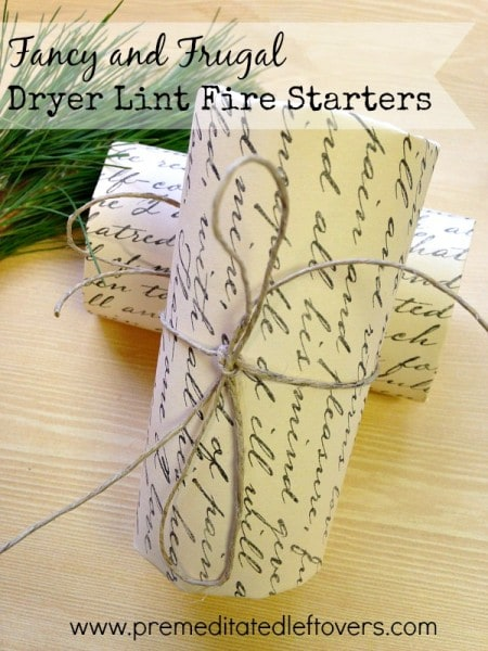 These Fancy DIY Dryer Lint Fire Starters are a festive and frugal way to light your wood burning fireplace and recycle your dryer lint as well.
