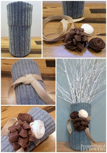How to Make a Sweater Vase with an Old Sweater - This Upcycled Sweater Vase is a great way to repurpose an old sweater and a unique way to decorate a vase.