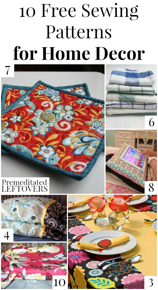 10 Free Home Decor Sewing Patterns