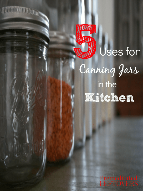 Canning jars are easy to find, inexpensive, durable, and have many uses in the kitchen beyond canning. Here are 5 uses for canning jars in the kitchen.