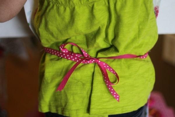 Dish towel apron ribbon tie
