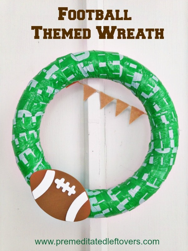 Perfect for your front door or to display on game day, this frugal DIY football wreath will let everyone know you are ready to party!