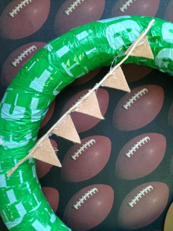 DIY Football Wreath - Mini Bunting Banner