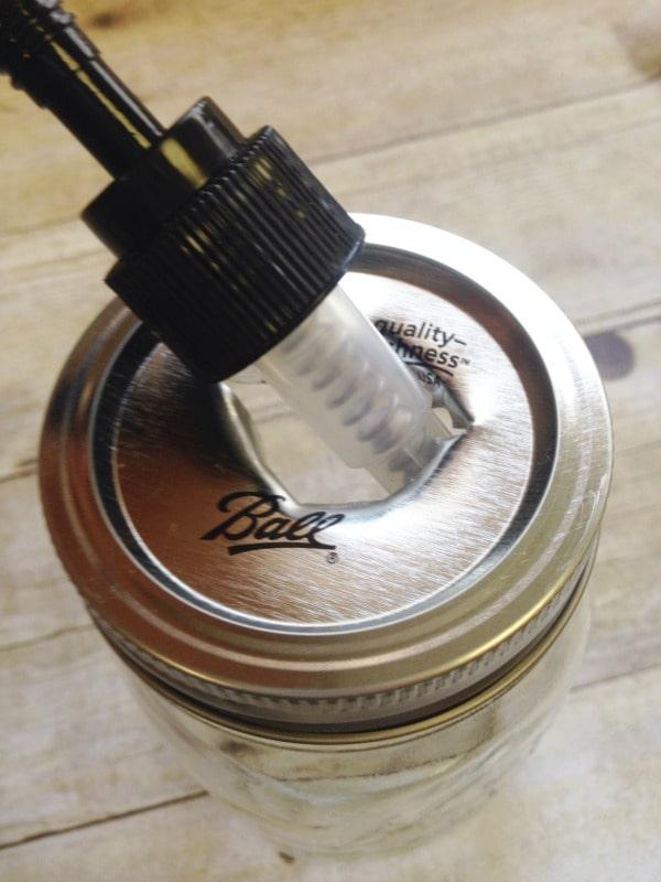 How to make lid for a mason jar soap dispenser