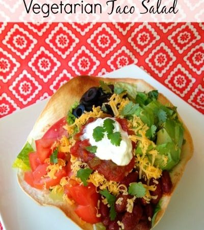 Vegetarian Taco Salad- This easy recipe uses kidney beans as a healthy alternative to ground beef. The result is a colorful taco salad with lots of flavor.