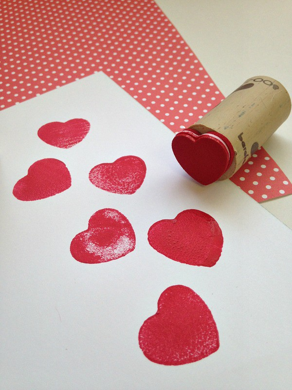 Repurposed Wine Cork Valentine's Day Stamps