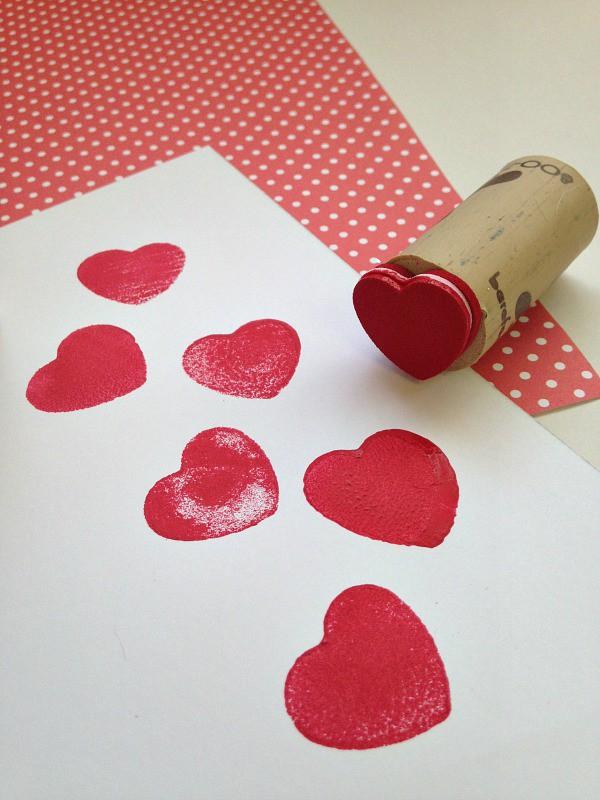Repurposed Wine Cork Valentine's Day Stamps