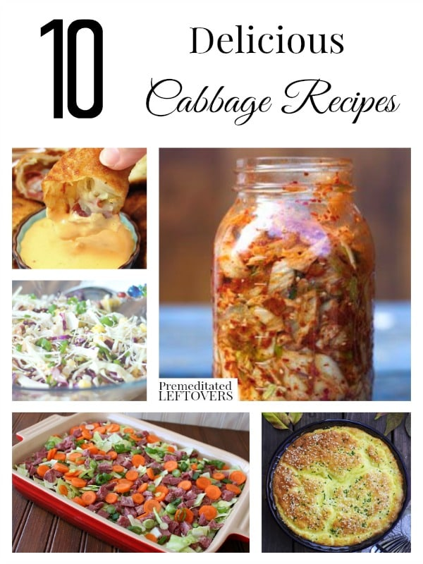 Looking for delicious cabbage recipes? Here are 10 recipes using cabbage including corned beef and cabbage, stuffed cabbage rolls, coleslaw and kimchi.