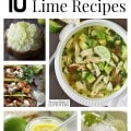 10 Delicious Lime Recipes including lime dressing, a lime chicken recipe, lime rice, lime cilantro butter, lime drinks recipes and how to freeze limes.