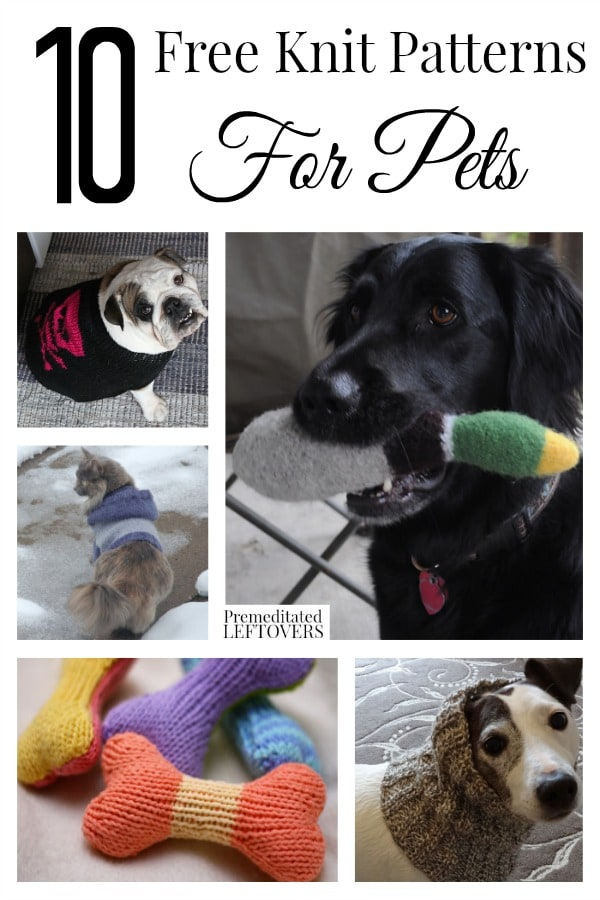 10 Free Knit Patterns for Pets including knit cat toy patterns, free knit cat hoodie pattern, free knit dog toy patterns and free knit dog sweater pattern.