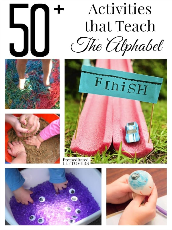 Looking for some fun activities to teach the alphabet to your child? Here are 50+ Activities to Teach the Alphabet including games, sensory bins, and more.