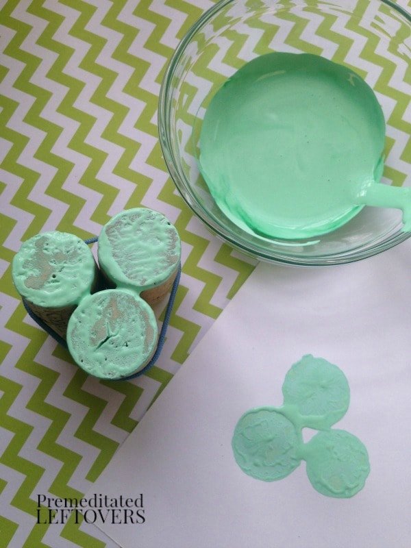 Wine Cork Clover Stamps for St. Patrick's Day