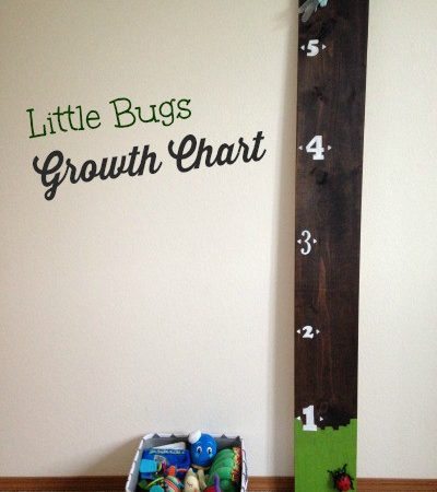 This Little Bugs DIY Growth Chart is an adorable way to keep track of your children's height. This simple DIY uses a wood board, stencils, and toy bugs.