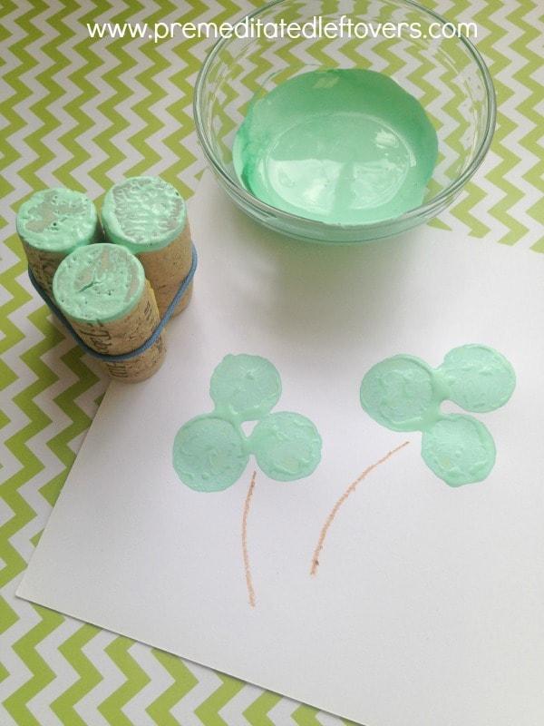 Wine Cork Clover Stamps - St. Patrick's Day Craft