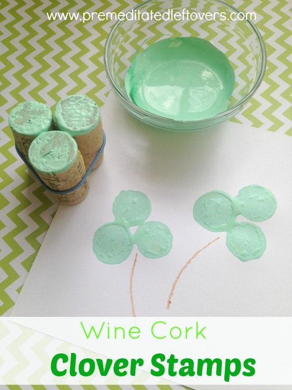 These Wine Cork Clover Stamps are a fun and easy St. Patrick's Day Craft for Kids. All you need are a few wine corks and a rubber band to make these stamps.