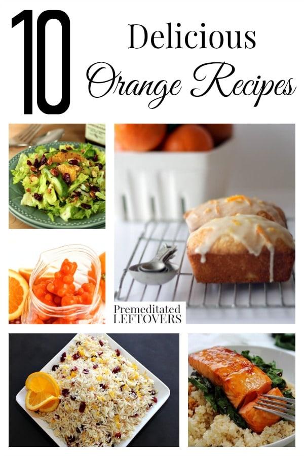 10 Delicious Orange Recipes & tips for freezing orange peels. Recipes include:  candied orange peels, orange cranberry rice, orange drinks, orange desserts.