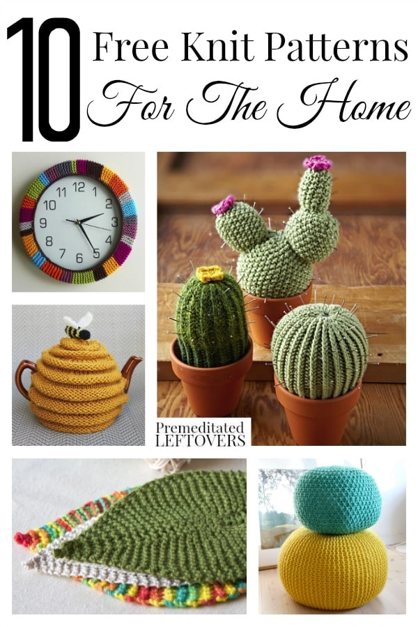 10 Free Knit Patterns for the Home including a computer wrist pad, a free pattern for a tea cozy, a washcloth pattern and other unique free knit patterns.