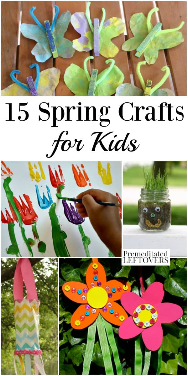 Spring crafts for kids, including flower, butterfly, and gardening crafts