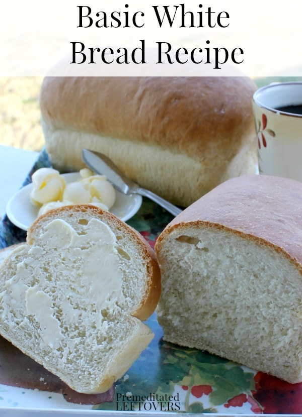 Basic white bread recipe with yeast that makes two loaves. This is an oven bread recipe from scratch. Includes step by step bread recipe instructions