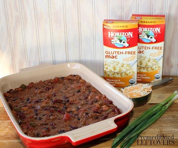 Gluten-Free Chili Macaroni and Cheese Casserole Recipe using Horizon Gluten-Free Macaroni & White Cheddar Cheese
