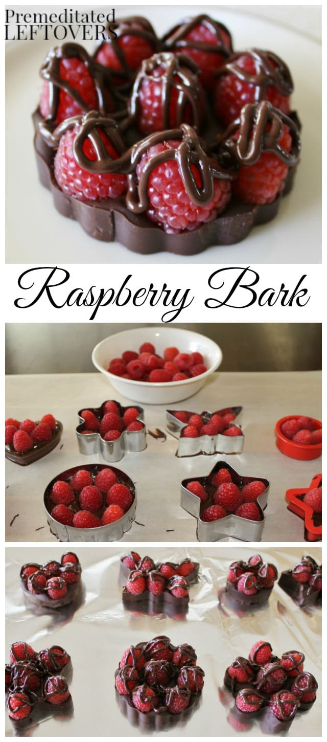 Step by step process showing how to make chocolate raspberry bark using cookie cutters