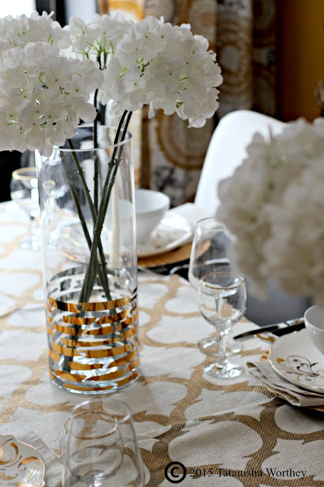 How to Redo Your Dining Room on a Budget : White and Gold Table Centerpiece from premeditatedleftovers.com size 650 x 975 jpeg 89kB