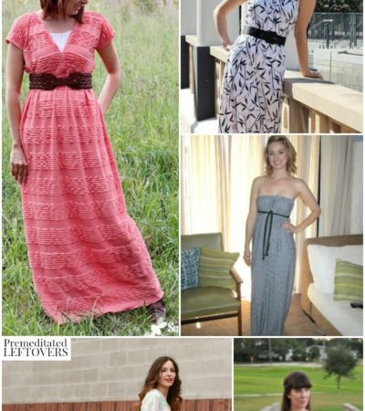 10 Free Maxi Dress Patterns including easy maxi dress patterns, maxi dress patterns using knit sheets, and maternity maxi dress patterns.