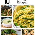 10 Tasty Asparagus Recipes including healthy asparagus recipes, asparagus breakfast recipes, easy recipes with asparagus and how to freeze asparagus.