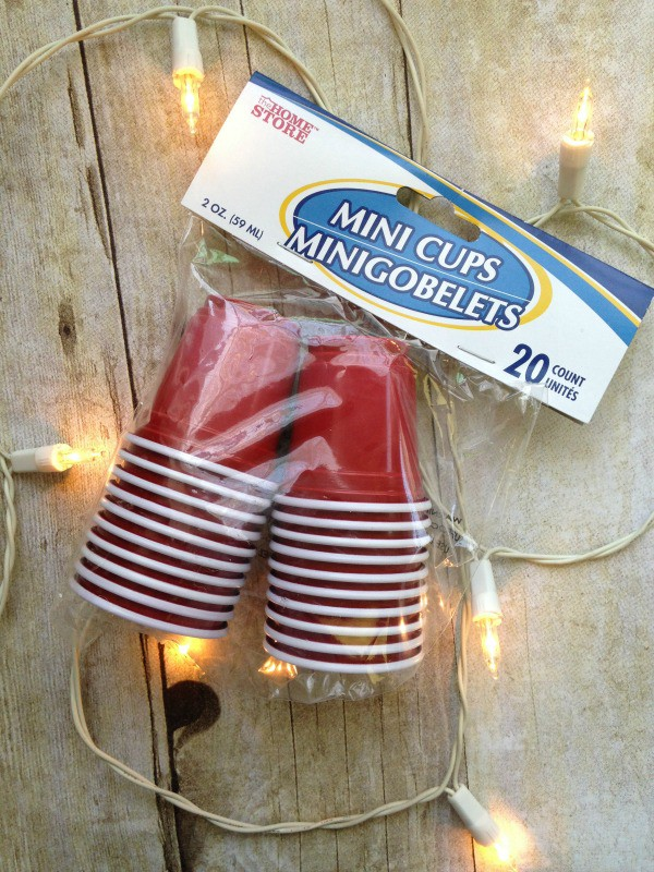 Mini red solo cups and twinkle lights to make red solo cup party lights