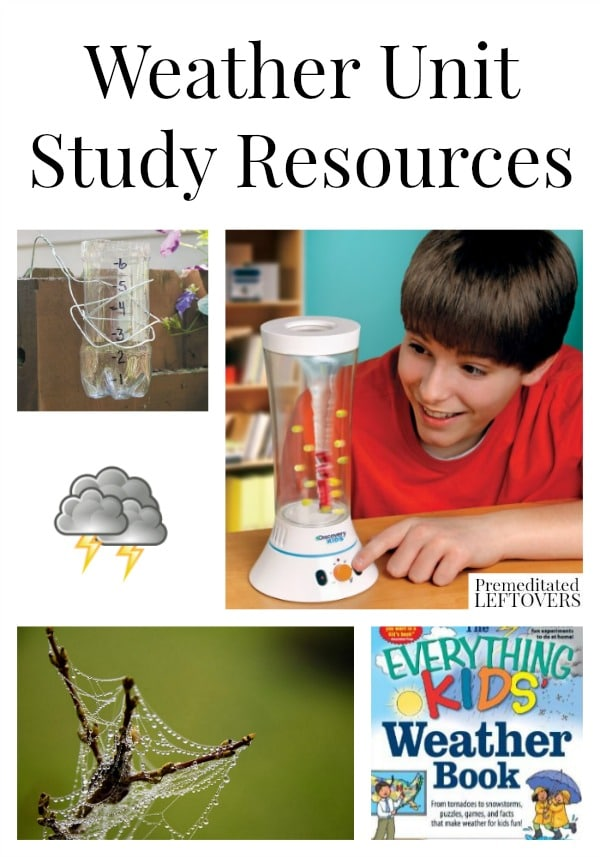 Weather Unit Study Resources including tools and books for teaching about weather, weather video clips, weather lapbooks, and weather lesson plan ideas.