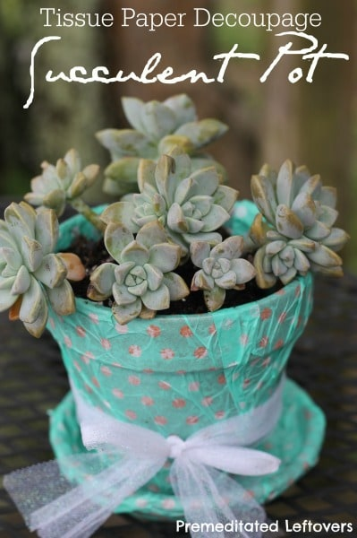 Tissue Paper Decoupage Flower Pot
