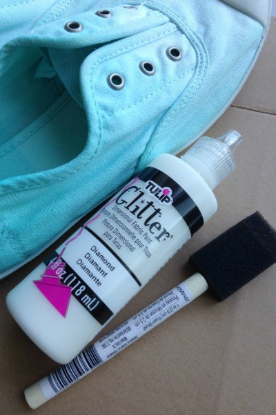 Adding Sparkle to Ombre Dyed Canvas Shoes